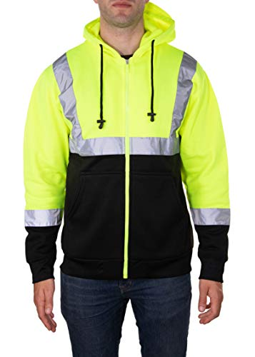 2019 Yellow Fleece - Arctic Quest Mens High Visibility Full Zip Fleece Hoodie Safety Sweatshirt with Reflective Detail, Class 2, Lime Green, XXL