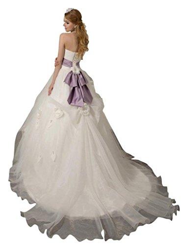 Ausschnitt Schleppe Handgemachte Dearta Drapiert Damen Blumen Ballkleid Tüll Weiß Herz Mit Kleidungen Hof rn4I4qpW