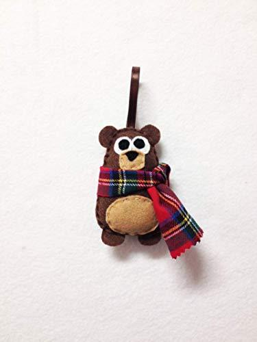 Bear Christmas Ornament with Plaid Scarf Decoration