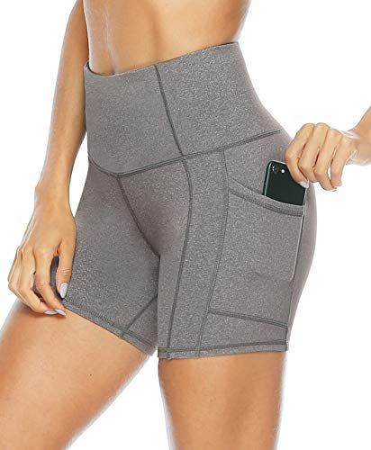 Persit Yoga Shorts for Women with Pockets High Wasited Running Athletic Biker Workout Shorts Tight Fitness Gym Shorts Yoga Pants - Grey - ()