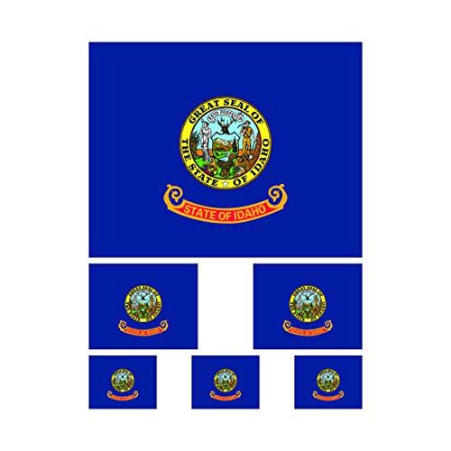 fagraphix 6 Piece Assorted Size Idaho State Flag Sticker Set Decal Self Adhesive ID Flags
