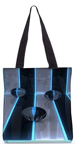 """Snoogg Digitale Kunst 3D Bälle Bänder Einkaufstasche 13,5 X 15 In """"Einkaufstasche Dienstprogramm Trage Aus Polyester Leinwand"""