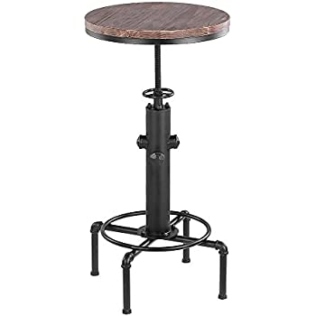 ikayaa pub bar table swivel counter height adjustable kitchen dining table pinewood top industrial style