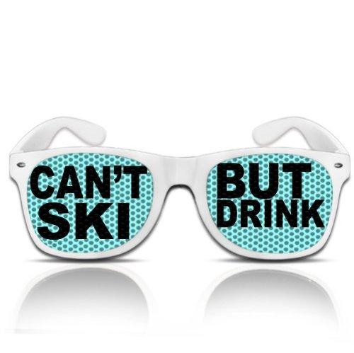 beklebte Sonnenbrille bedruckte Pilotenbrille Motiv Ischgl Sölden Partybrille Can´t ski but drink mygafas (NERD weiß)