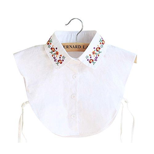 (Shinywear Floral Embroidered False Shirt Collar Vintage Detachable Lapel Dicky Blouse (White))