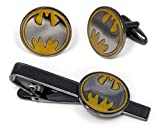 SharedImagination Batman Tie Clip, Batman Cufflinks, Batman Tie Tack Jewelry, Justice League Cuff Links Link Wedding Party Gift, Avengers Groomsmen Gifts