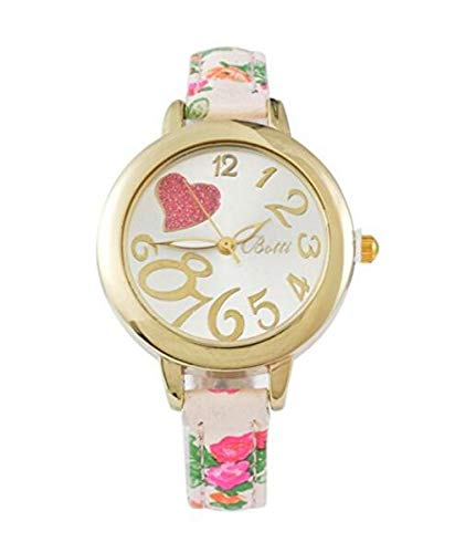 Huasen Artificial Floral Quartz Analog Wrist Watch Leather Band Heart Dial Watch-Pink