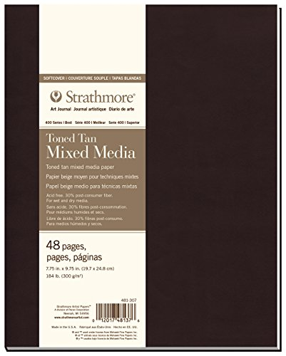 Strathmore (481-307 400 Series Softcover Toned Tan Mixed Media Art Journal, 7.75''x9.75'', 24 Sheets by Strathmore