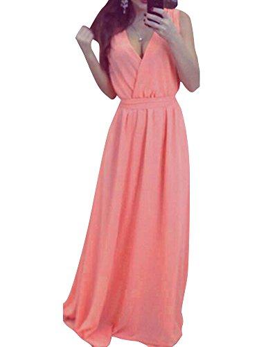 Cocktail Col De Robe Pink Mousseline Manche Plage Soire Longue Elgante Femme V Maxi sans wtF7xfqHC