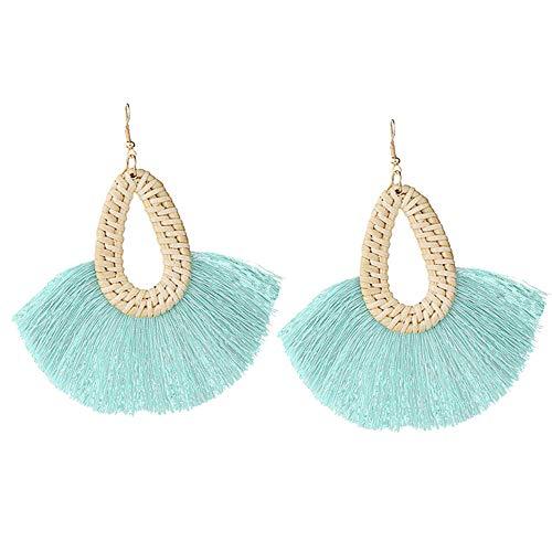 Statement Aqua Tassel Earrings Summer Rattan Fringe Drop Dangle Earrings for Women