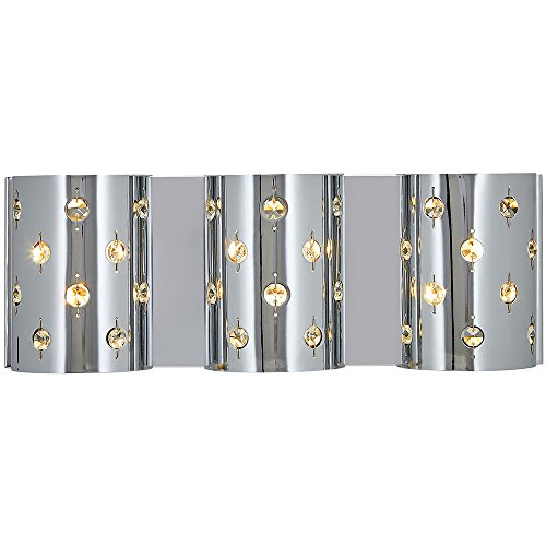 Polished Chrome Glass Beaded Triple Light Fixture Sconce | Bathroom Hall or Vanity LED Wall Lighting ()