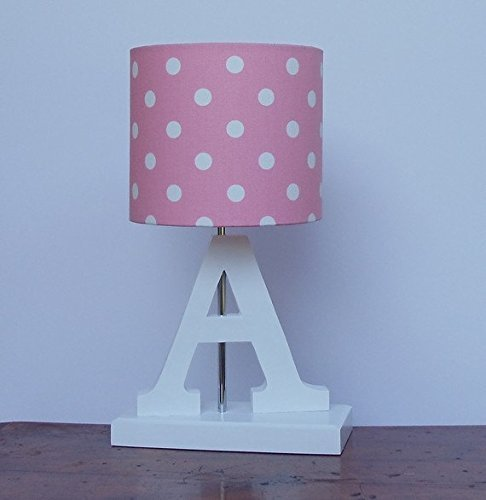 Amazon pink with white polka dots lamp shade handmade pink with white polka dots lamp shade aloadofball Choice Image