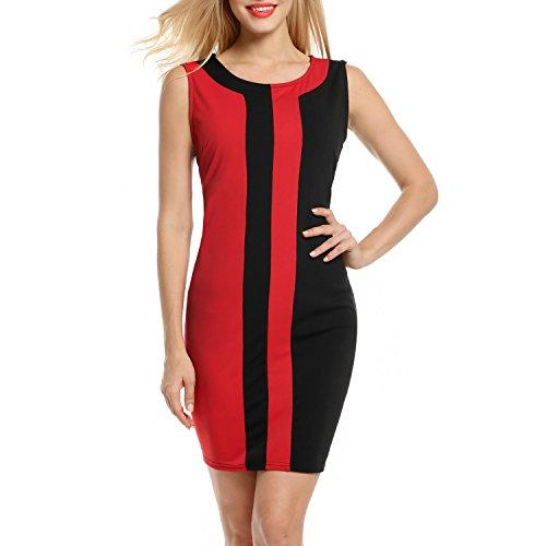 ANGVNS Womens Sexy Sleeveless O Neck Vertical Stripes Slim Dress