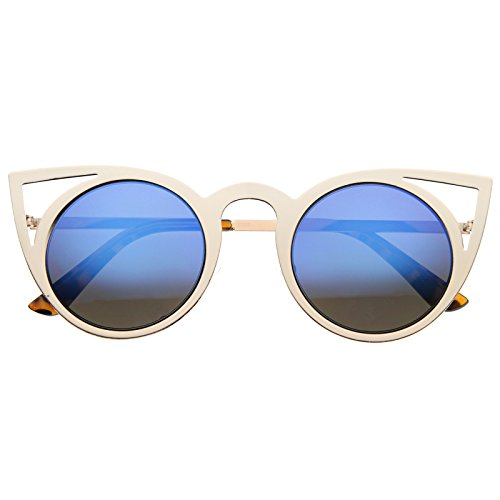 Womens Fashion Round Metal Cut-Out Flash Mirror Lens Cat Eye Sunglasses (Gold/Blue Mirror)