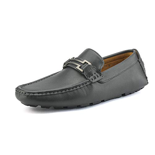 Bruno Marc New York Men's Hugh-01 Grey Faux Leather Driving Penny Loafers Boat Shoes - 7 M US