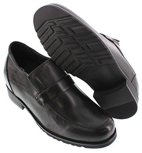 calto-g95273-9,1cm Grande Taille-Hauteur Augmenter Chaussures ascenseur à enfiler en cuir (Noir)