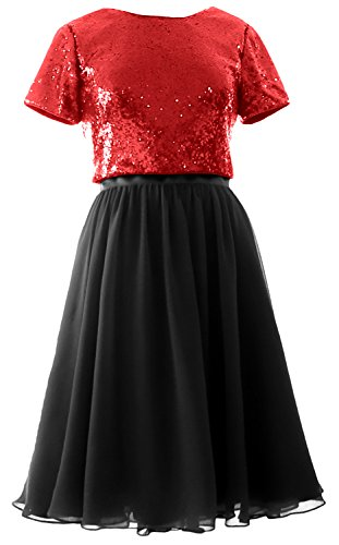 Formal Sleeves Bridesmaid Chiffon Red Short Gown Piece MACloth Cap Dress Black Sequin Two 1q5Fzw