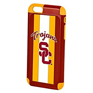 """Wishing Forever Collectibles Official Licensed NFL Dual Hybrid 4.7"""" iPhone 6 Rugged Case - Retail Packaging - USC Trojans"""