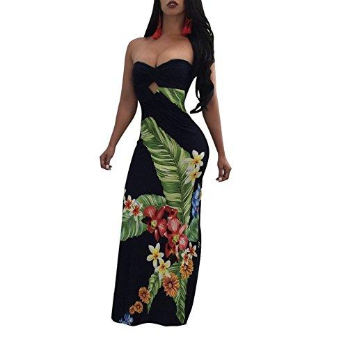 Cheap Lkous Women's Elegant Flowers Off Shoulder Ruffle Bodycon Party Maxi Dress S-XL for cheap