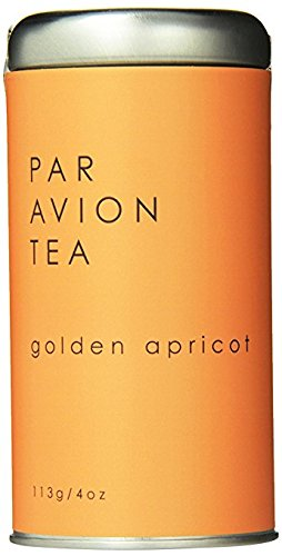 Par Avion Tea Golden Apricot - Blend of Fine Ceylon Tea - Sweet and Delicate With A Fruity Aroma - Small Batch Loose Leaf Tea in Artisan Tin - 4 oz (Tea Ceylon Blended Teas)