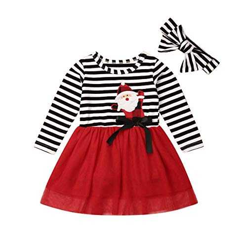 Santa Claus Outfit For Toddler (Toddler Baby Christmas Outfits Kids Girls Deer Print Long Sleeve Tulle Tutu Dress Santa Striped Skirt Clothes Set (2-3 Years, Santa)