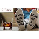 ALNDA 2 Pack If You Can Read This Bring Me Whisky Remote Wine Socks Christmas Novelty Gifts Unisex Funny Socks (Whisky)