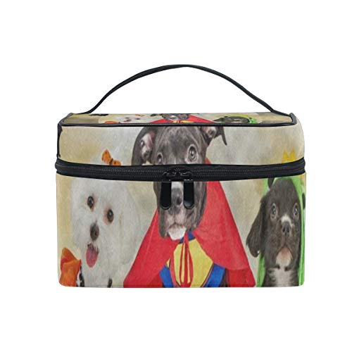 Makeup Organizer Hipster Puppy Dog Dressed In Halloween Costumes Womens Zip Toiletry Bag Large Case Cosmetic -