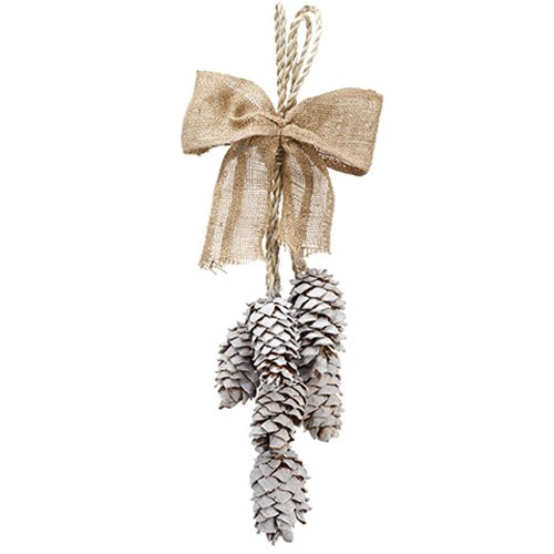 24'' Pinecone Artificial Teardrop Swag -Brown/Whitewashed (pack of 12) by SilksAreForever
