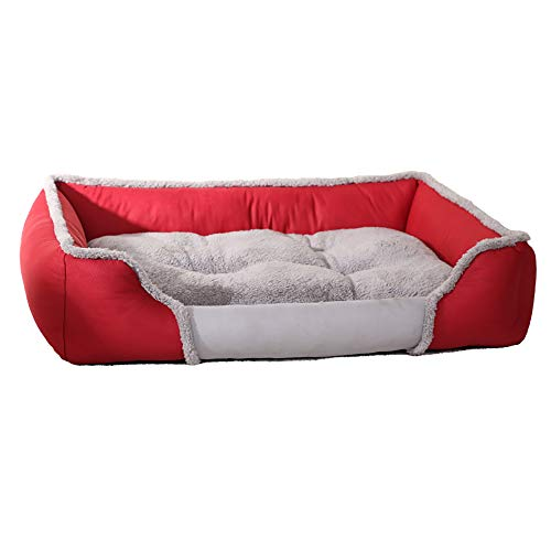- XDgrace Orthopedic Large Dog Bed, Three Bolster Design Dog Lounge Sofa Removable Cover, Washable Dog Beds for Medium Large Dogs (L, Red)
