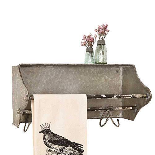 - Colonial Tin Works Weathered Galvanized Metal Toolbox Wall Rack Towel Bar w/Hooks, grey