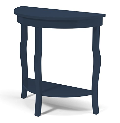 Kate and Laurel Lillian Half Moon Wood Console Table with Curved Legs and Shelf, Navy Blue