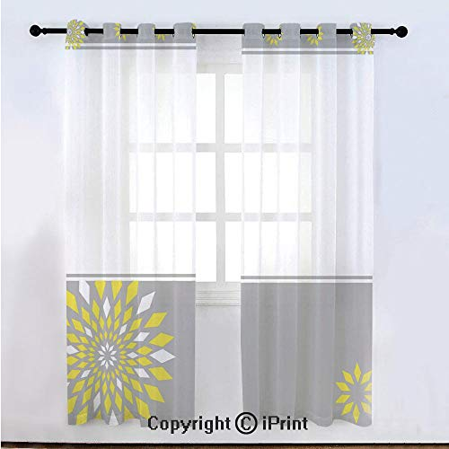 Grey and Yellow Semi Sheer Voile Window Curtain With Drapes Grommet,Modern Futuristic Border with Geometric Flower Frame,for Bedroom,Living Room & Kids Room(108