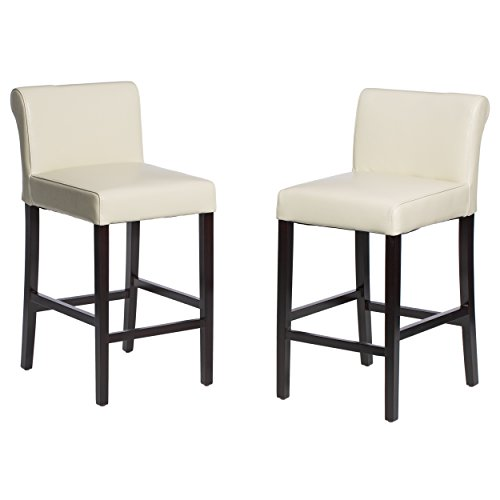 Set Upholstery Back (ModHaus Living Modern Faux Leather Creme Upholstery Set of 2 Rolled Back Counter Stool with Brown Wood Legs - Includes Pen)