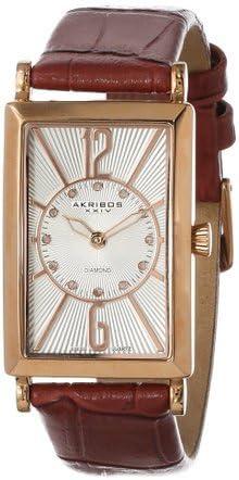 アクリボス Akribos XXIV Women's AK543BR Essential Rectangular Stainless Steel Diamond Strap Watch 女性 レディース 腕時計 【並行輸入品】