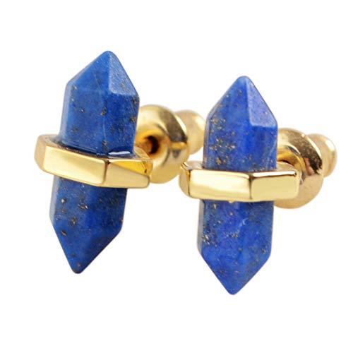 ZENGORI 1 Pair Gold Plated Bezel Setting Natural Lapis Lazuli Post Stud Earrings ZER0070