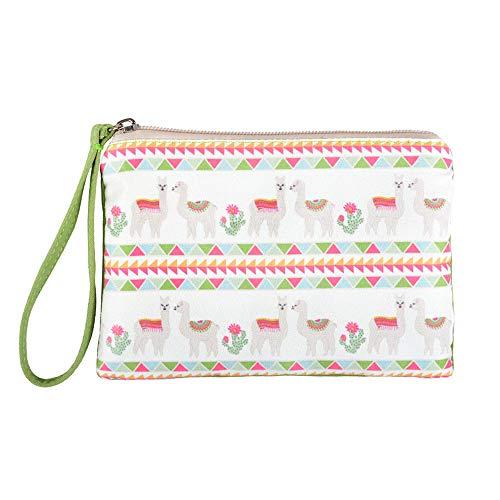 (Rantanto Cute Canvas Cash Coin Purse, Make up Bag, Cellphone Bag with Handle (BG0026 Llama and Cactus))