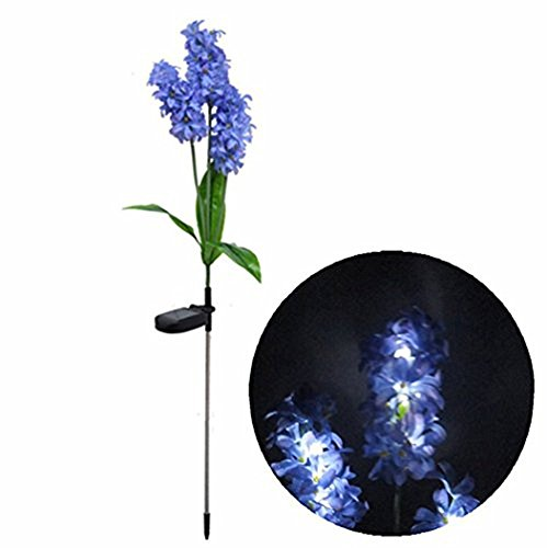 Samgo Outdoor Waterproof Solar Flower Battery Light Hyacinth for Garden, Balcony, Lawn Illumination (Purple) (Walkway Lead)