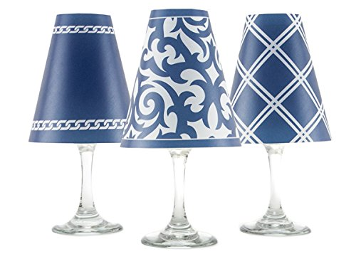 di Potter WS434 Santa Barbara Paper White Wine Glass Shade, Navy (Pack of 6)
