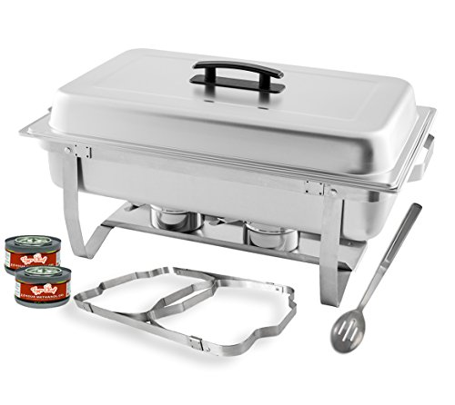 TigerChef 8 Quart Full Size Stainless Steel Chafer with Folding Frame and Cool-Touch Plastic on top - includes 2 Free Chafing Gels and Slotted Serving Spoon (1, 8 Quart Chafer) ()