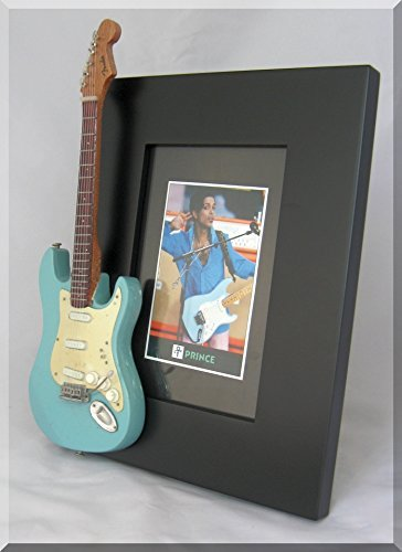 PRINCE Miniature Guitar Picture Frame Fender Sonic Blue