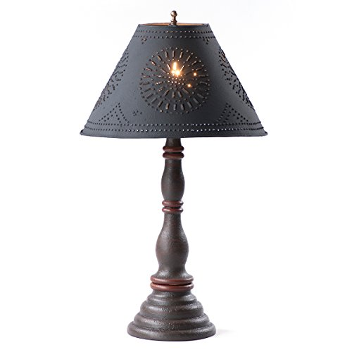 Davenport Lamp in Espresso and Salem Brick Stripe with Shade