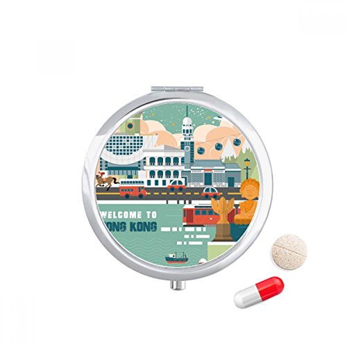 Wellcome to Hong Kong China Travel Pocket Pill case Medicine Drug Storage Box Dispenser Mirror Gift