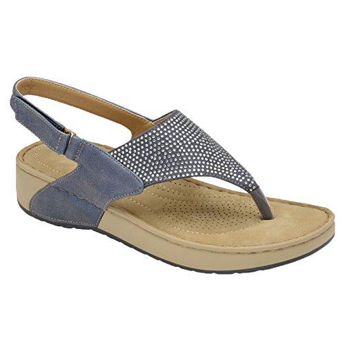Dunlop Womens Zelda Sling Back Toe Thong Diamante Wedge Sandal Lapis Blue m1BtGb9Q