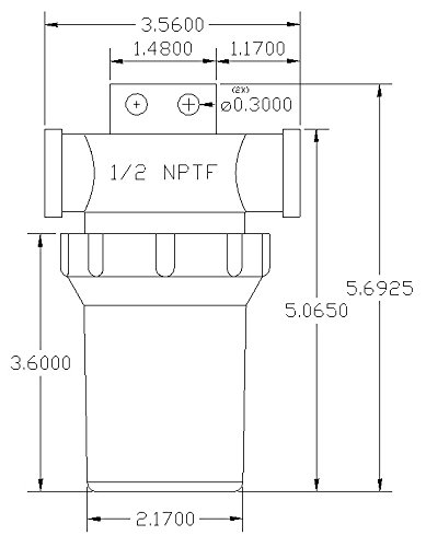 1/2'' Female NPT In-Line Strainer with mounting tab and 50 mesh stainless steel screen and Poly/Nylon housing