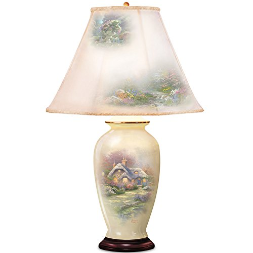 Jar Porcelain Lamp Ginger (Thomas Kinkade Everett's Cottage Charm Porcelain Ginger Jar Table Lamp by The Bradford Exchange)