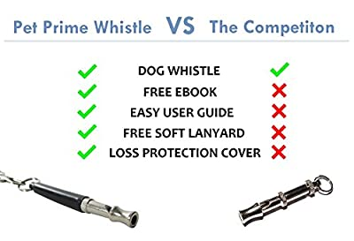 Dog Whistle to Stop Barking by Pet Prime - FREE Lanyard Strap & Dog Whistle Guide eBook - Complete Set for Repellent, Obedience and Training Aid - Lifetime Warranty
