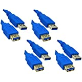 C&E 4 Pack USB 3.0 A Male to A Female extension cable 6 Feet Blue, CNE464003