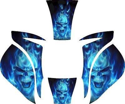 MILLER ELITE WELDING HELMET WRAP DECAL STICKER SKINS MP10 2 - Blue Skull Flame