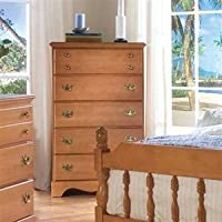 Carolina Furniture Works 184500 Chest with 5 Drawer, Traditional Cherry