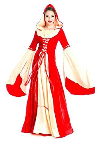 [Baju Adult Blue Velvet Lolita Gothic Renaissance Medieval Mythic Dress Red] (Green Medieval Dress)